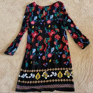 LOFT Bright Flowers Long Sleeve Black Swing Dress